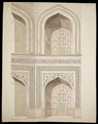 Details of alcoves round wall of the central chamber in the Taj Mahal, Agra